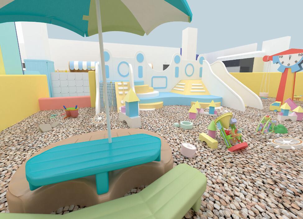 儿童乐园里设置有互动式的游乐设备